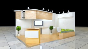 modern design 24 squared meters exhibition stand with blank frieze and reception counter